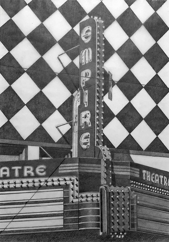 Robert Cottingham photorealist drawing in grey graphite of Empire Theater sign on building