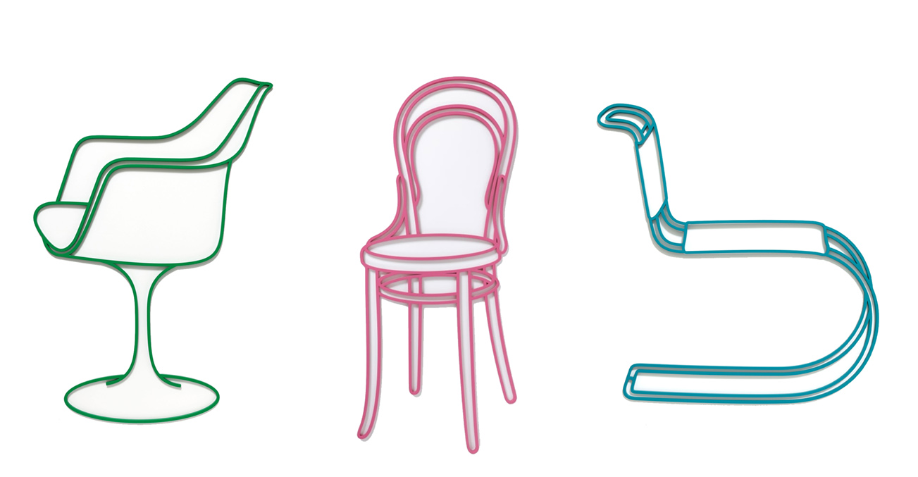 Michael Craig-Martin chairs in green, pink, and turquoise