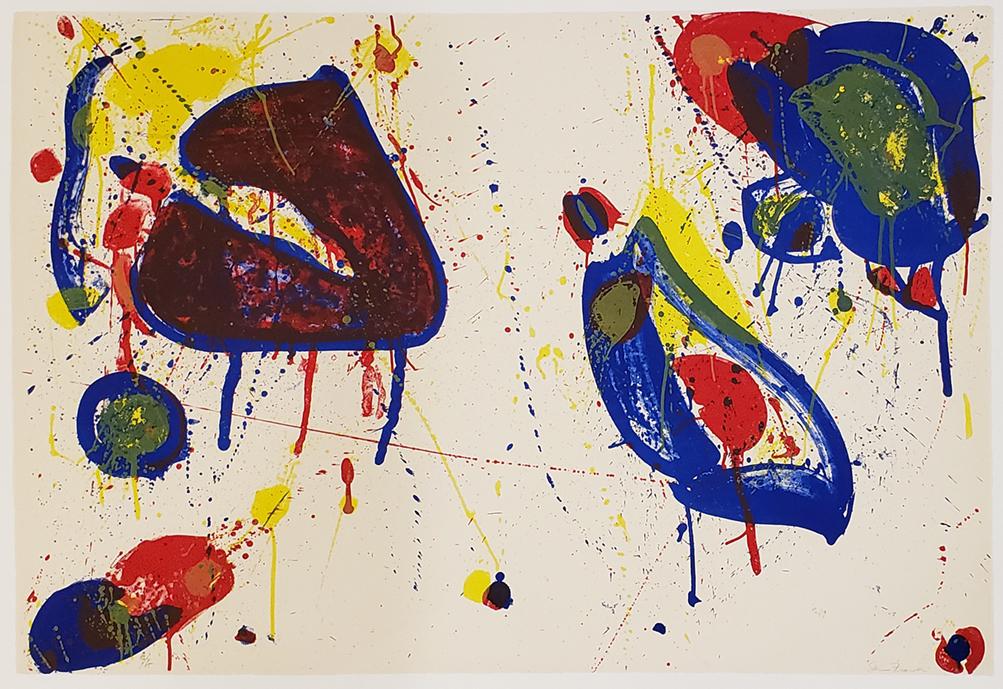 closeup on colorful Sam Francis print entitled Heart Stone