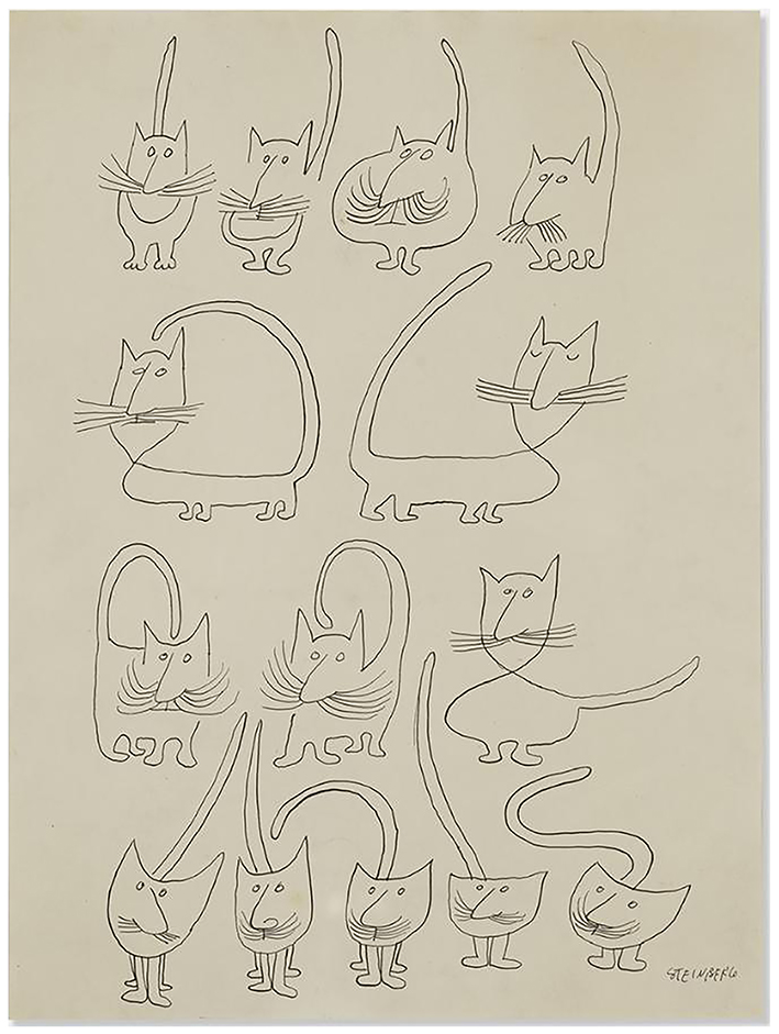 Saul Steinberg Drawing of Woman Bathing with Collaged Elements