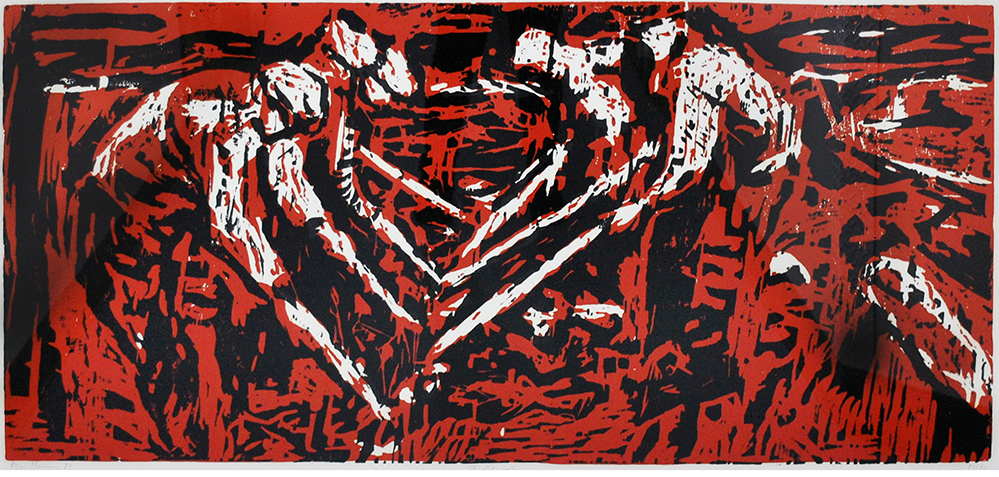 unframed image of red and black print depicting field workers by Roger Herman