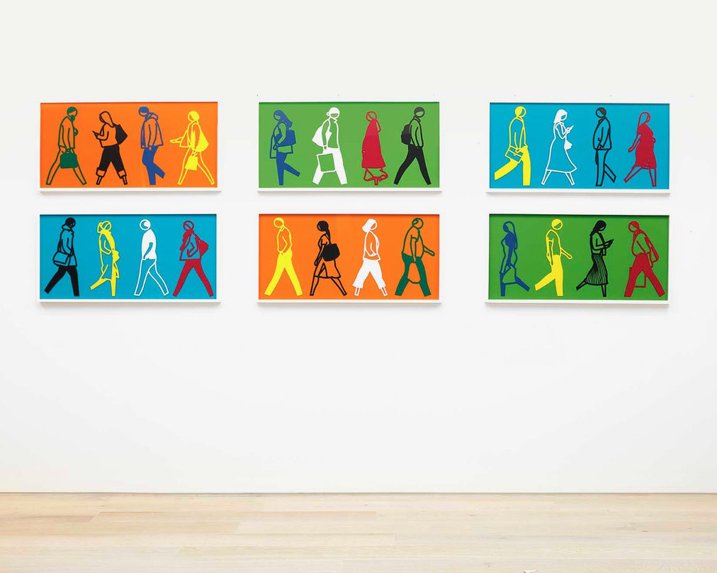 Colorful suite of six works by Julian Opie depicting walking people