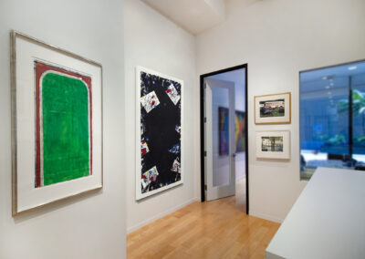 """Installation Image of works in """"On Paper"""" Exhibition by Richard Diebenkorn, Sam Francis, and Photorealist Artsts"""