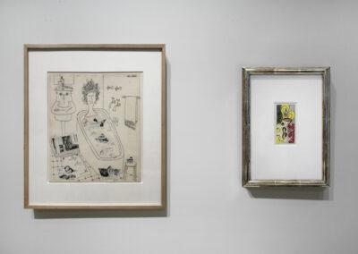 "Head-On Installation Image of works in ""On Paper"" Exhibition by Saul Steinberg and Roy Lichtenstein"