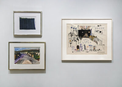 """Head-On Installation Image of works in """"On Paper"""" Exhibition by Wayne Thiebaud, Richard Diebenkorn, and Saul Steinberg"""