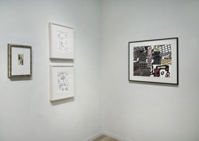 """Installation Image of works in """"On Paper"""" Exhibition by Roy Lichtenstein, David Shrigley, and Jean Dubuffet"""