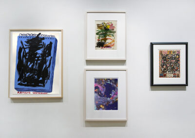 """Head-On Installation Image of works in """"On Paper"""" Exhibition by David Shrigley, Kikuo Saito, Augustus Francis, Tony Fitzpatrick"""
