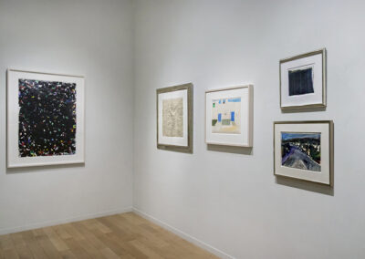 """Installation Photo of works from """"On Paper"""" Exhibition by Sam Francis, Jean Dubuffet, David Hockney, Wayne Thiebaud, and Richard Diebenkorn"""