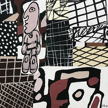Jean Dubuffet Black and White Ink Drawing Thumbnail