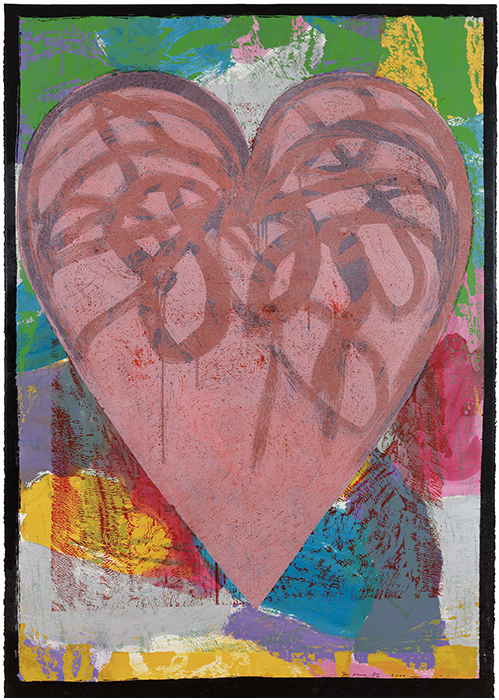 Closeup on Jim Dine print entitled Alice in Rose Hill depicting large pink heart with abstract background