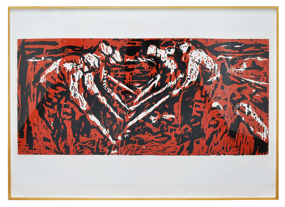 framed image of Roger Herman's red and black print depicting field workers