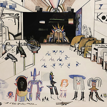Mixed media drawing by Saul Steinberg