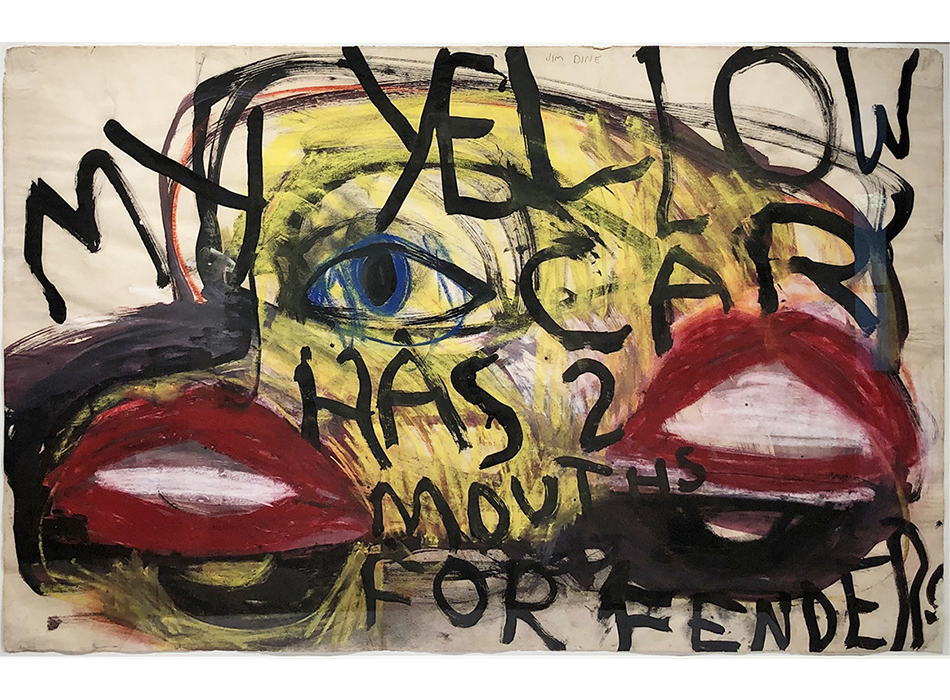 Slideshow Image of Jim Dine's Early Work of Abstract Yellow Car with Red Lips