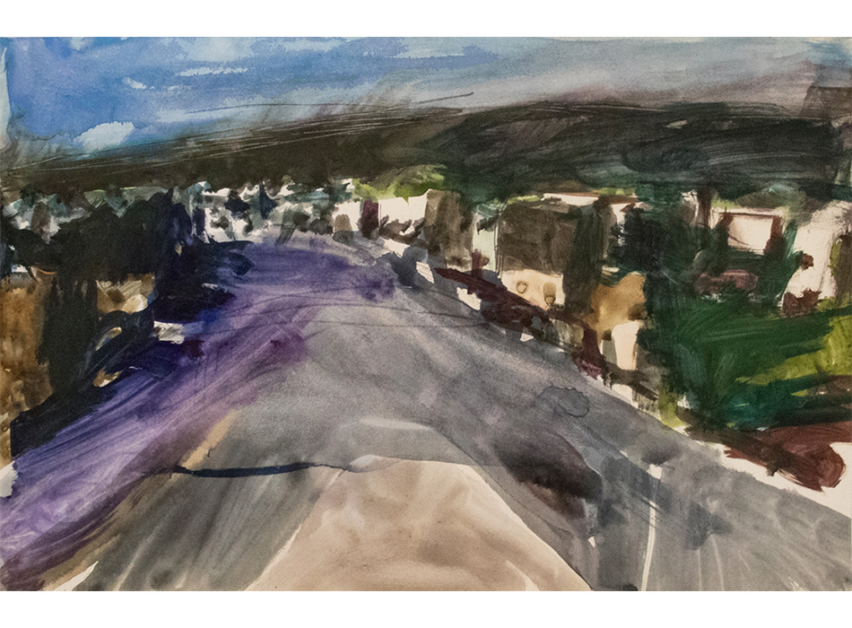 Watercolor Painting of Landscape with Road and Trees by Richard Diebenkorn
