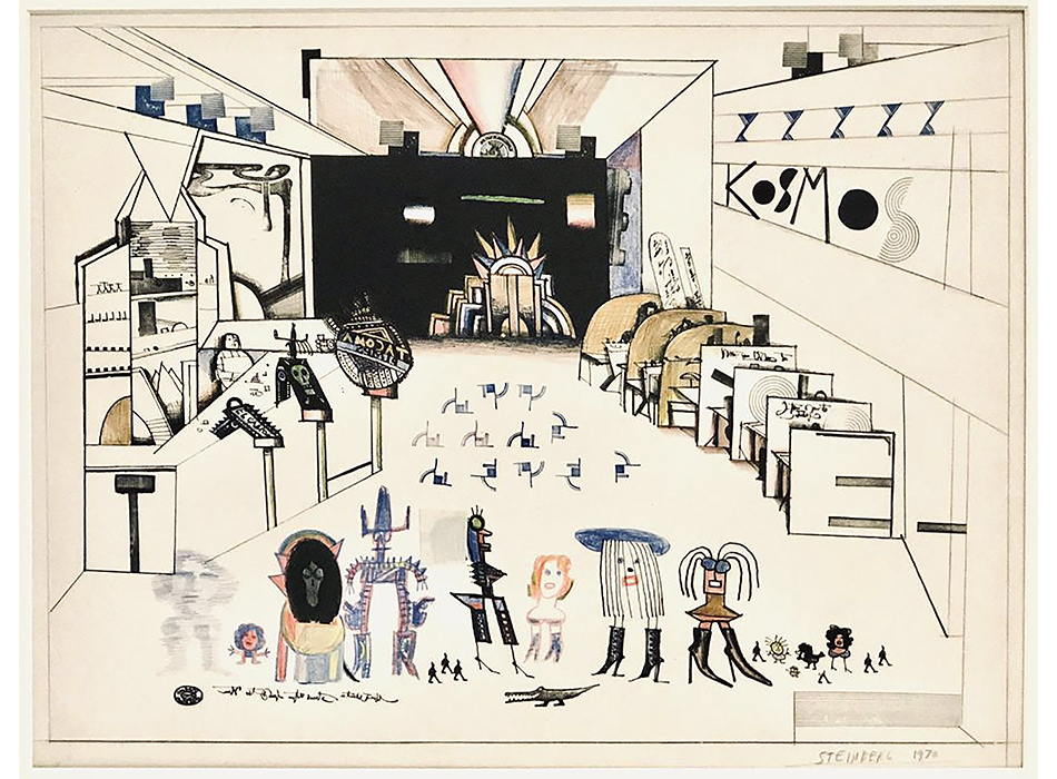 Slideshow Image of Saul Steinberg's Depiction of Cafe with many playful characters