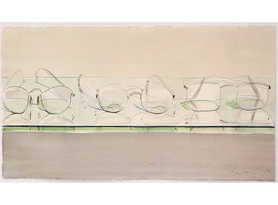 Slideshow Image of Watercolor Painting by Wayne Thiebaud of Eyeglasses in Soft Colors