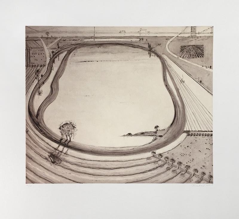 Full sheet image of Wayne Thiebaud etching depicting reservoir in sepia colors