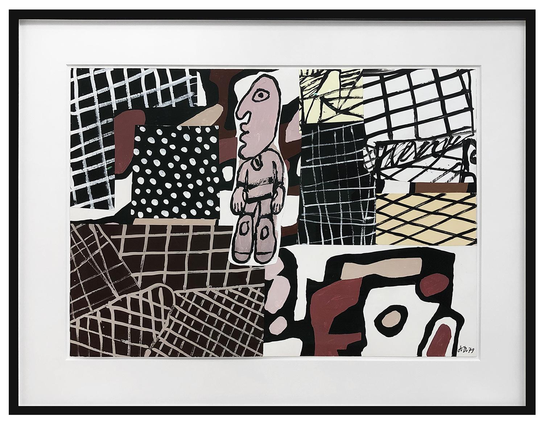 framed image of Jean Dubuffet's 1979 Habitat et Usager depicting a man