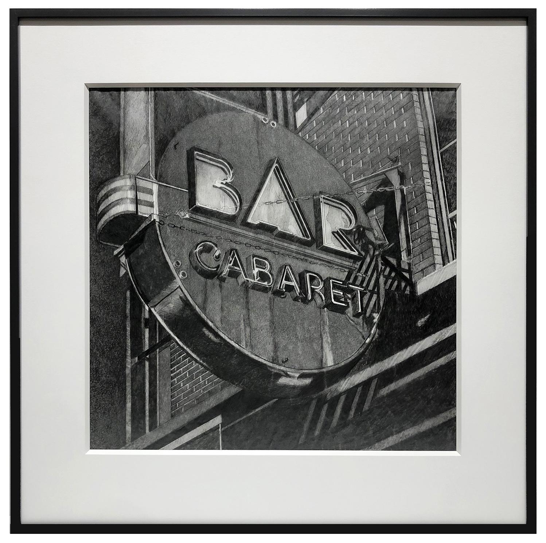 framed photo of Bar Cabaret charcoal drawing by Robert Cottingham