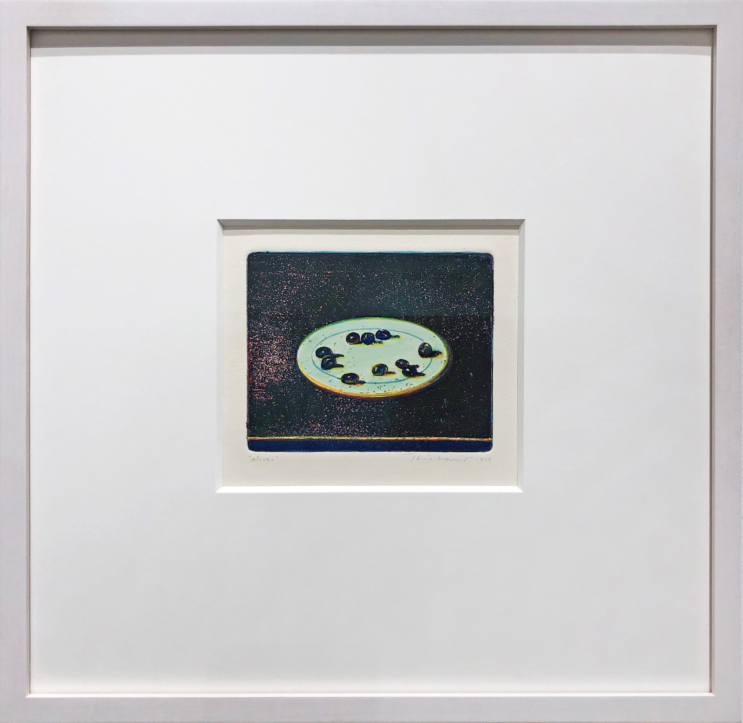 framed photo of Wayne Thiebaud's olives work on paper