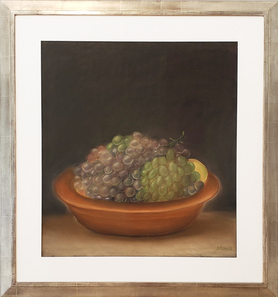 framed image of Fernando Botero painting depicting grapes in a bowl