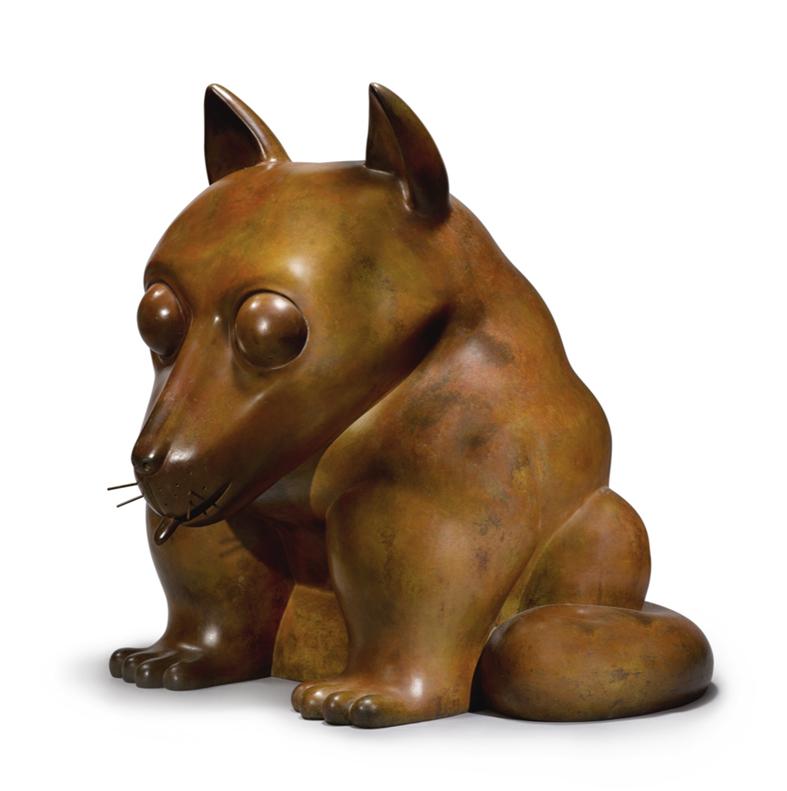 side angle photo of Fernando Botero's bronze Dog sculpture