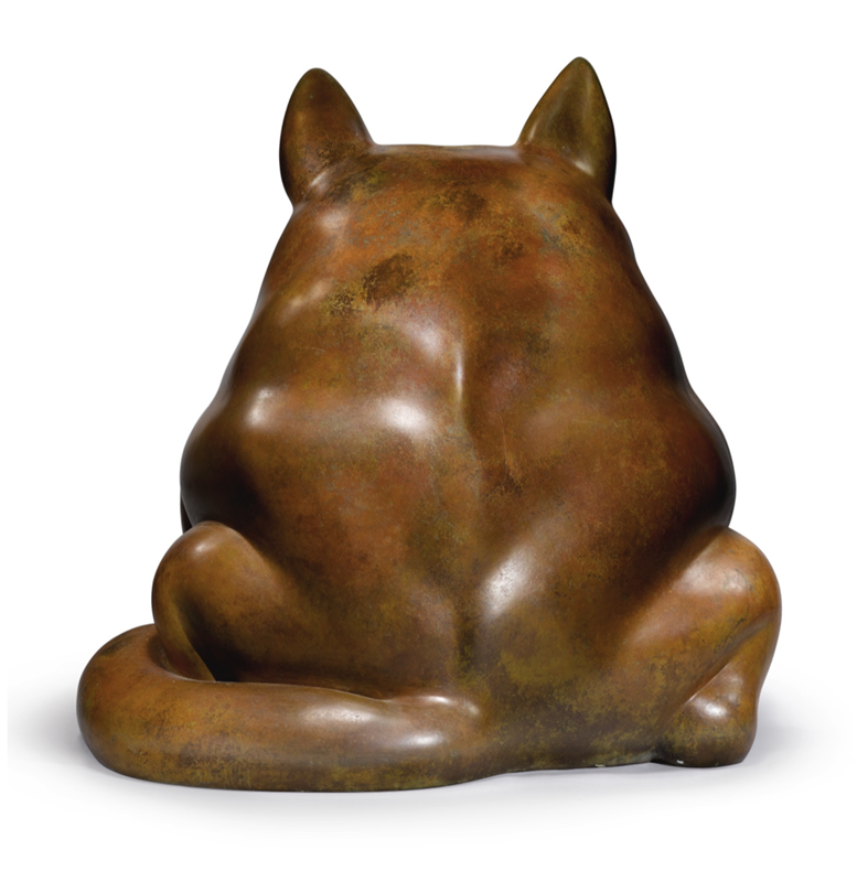 verso photo of Fernando Botero's bronze Dog sculpture
