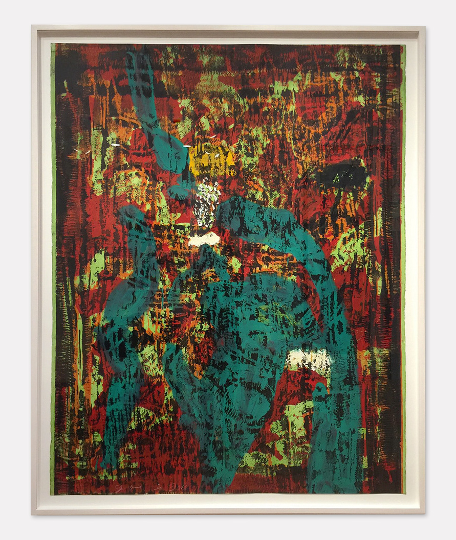 framed photo of Jim Dine's The Dear Ape abstract print