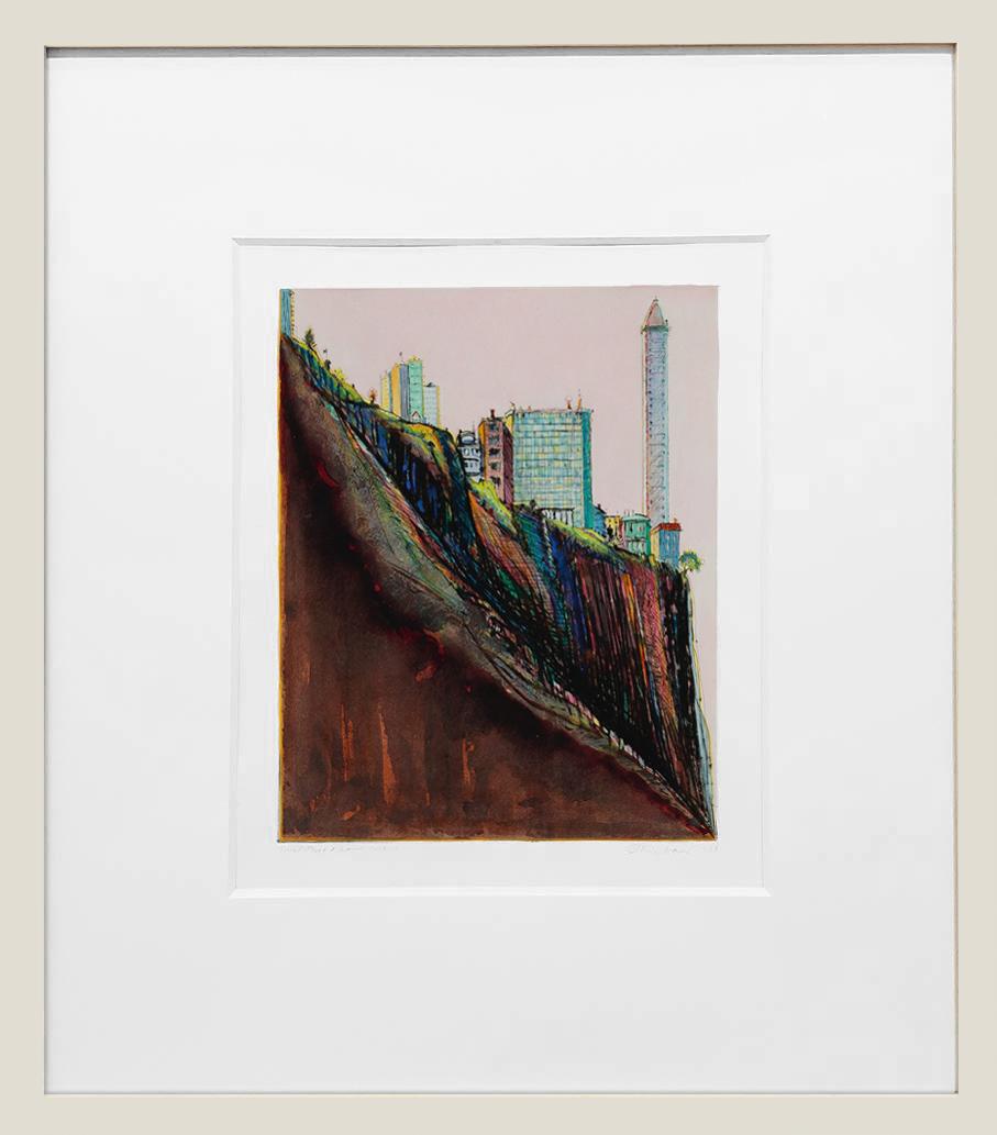 framed photo of Wayne Thiebaud's White Marina Ridge original artwork