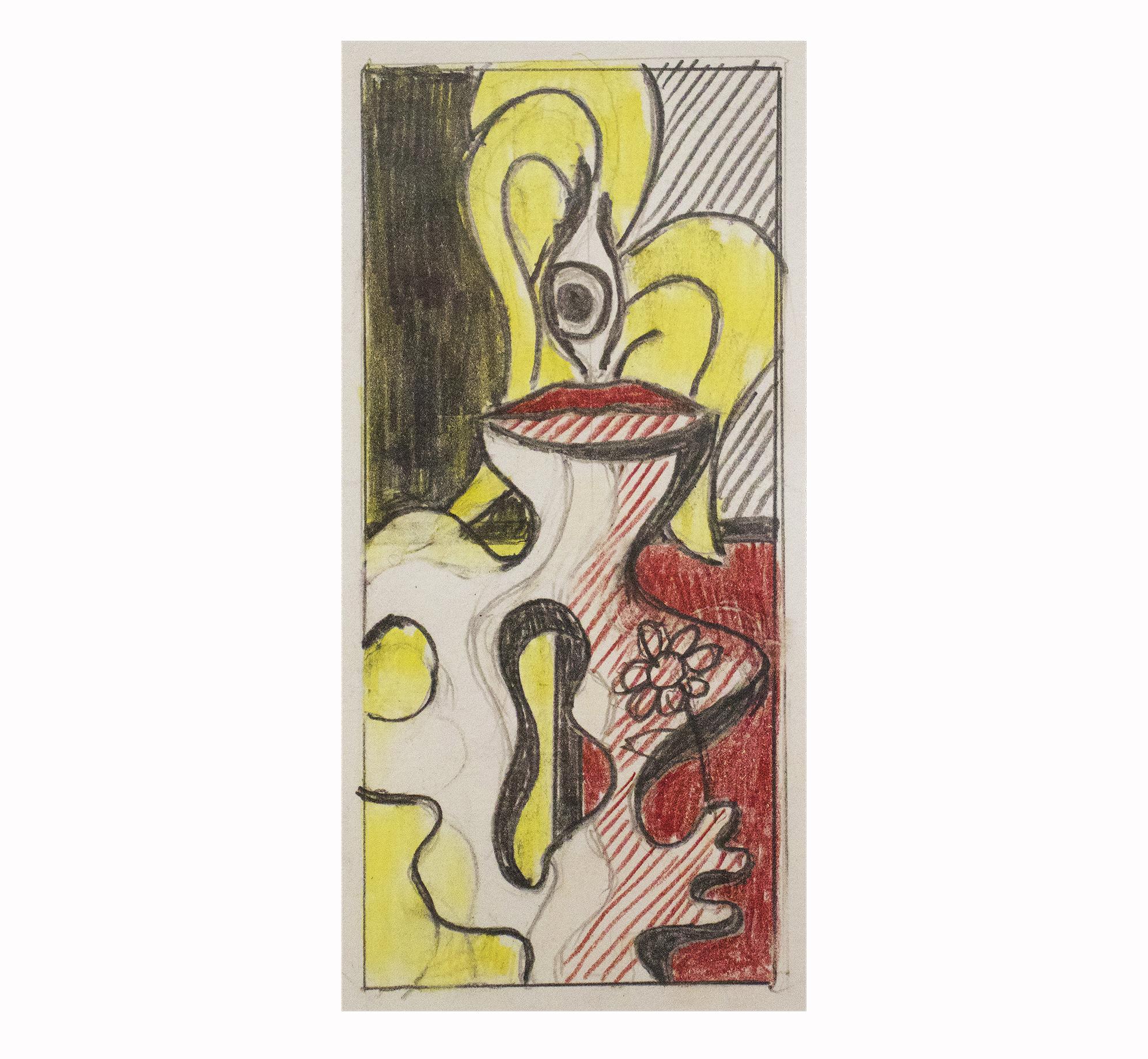 Roy Lichtenstein drawing of woman holding flower